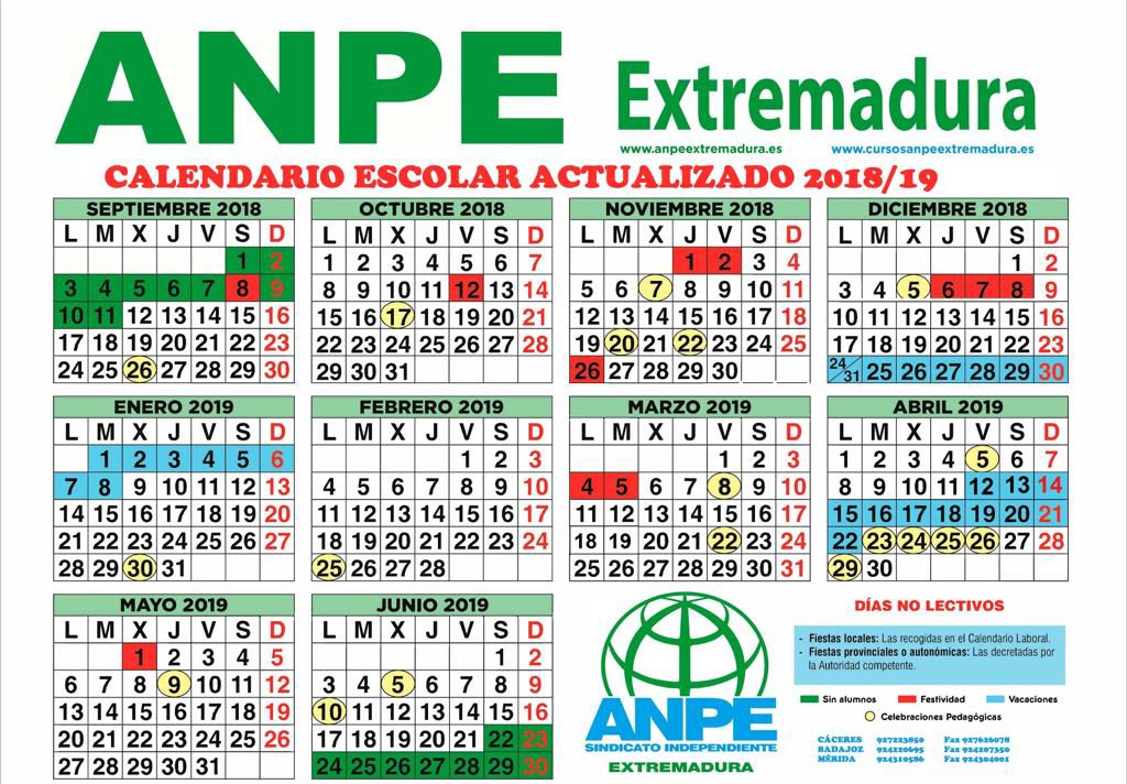 Calendario Escolar Extremadura.Calendario Escolar 2018 19 Tweet Added By Anpe Extremadura