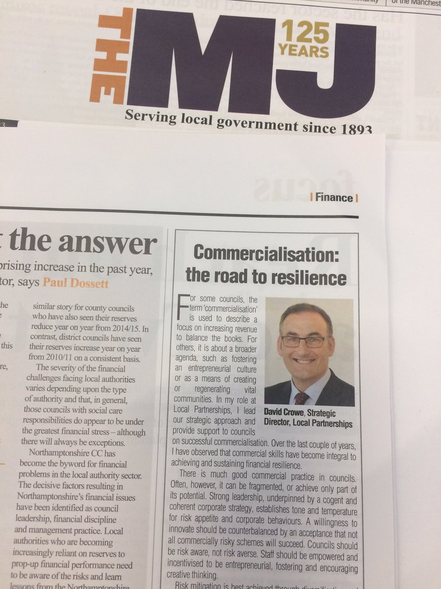 What does #Commercialisation mean for your council? Entrepreneurship? Protecting services? @lp_localgov David Crowe explores the road to resilience, risk awareness & risk aversion in ⁦@themjcouk⁩ this week p15 #localgov