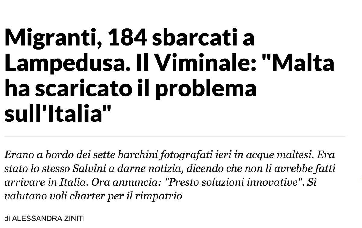 Salvini batte i pugni ma non risolve nulla. Chi fugge da fame e guerra in Europa ci arriva o muore. #Migrazioni vanno gestite migliorando distribuzione tra paesi, aprendo vie legali, aumentando risorse per integrazione e povertà. Per tutti. #Lampedusa  https:// www.repubblica.it/cronaca/2018/09/14/news/migranti_184_sbarcati_a_lampedusa_il_viminale_malta_ha_scaricato_il_problema_sull_italia_-206413059/?ref=RHPPLF-BH-I0-C8-P2-S1.8-T1  - Ukustom