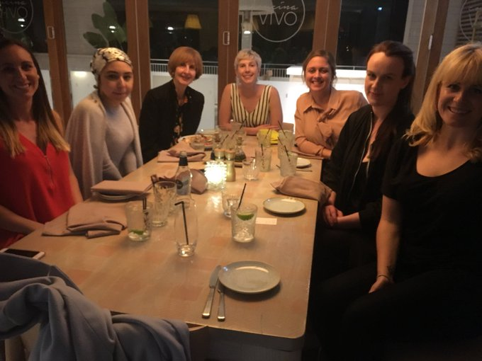 @Caroline_J is sharing dinner and stimulating conversation with winners of @withMEAA's CJA rural journalism Scholarship. #wimconf18 Photo