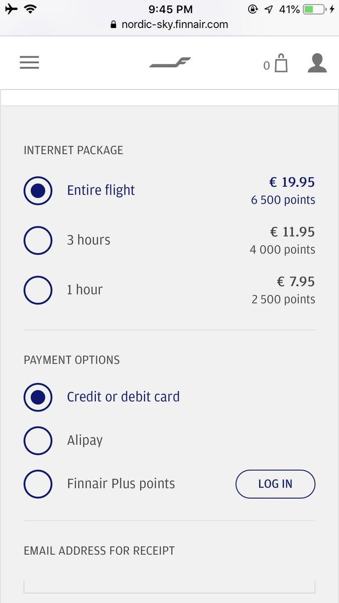 Finnair take Alipay for their in-flight WiFi