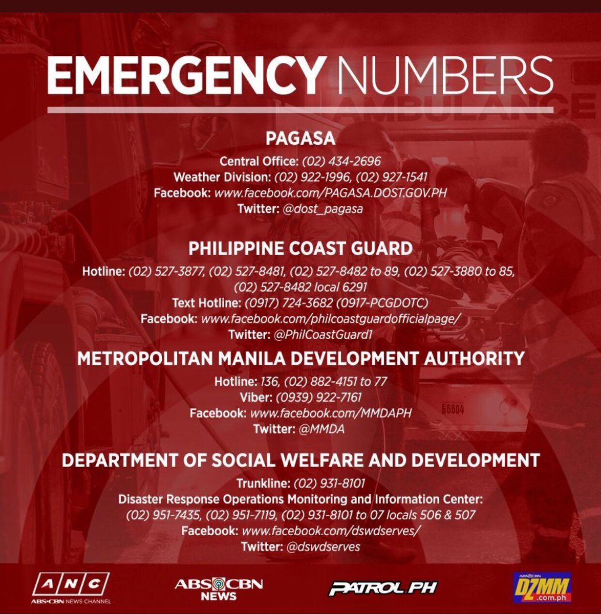 Here is a list of emergency numbers for your reference. Keep safe, Kapamilya! #OmpongPH