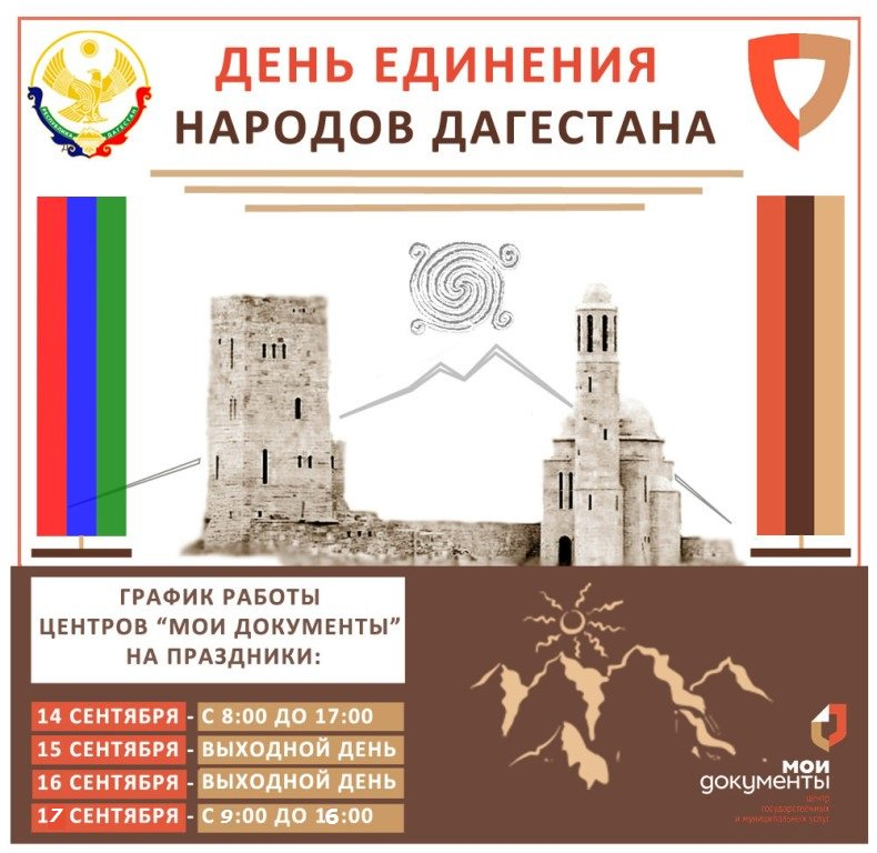 Открытка ко дню единства народов дагестана, днем