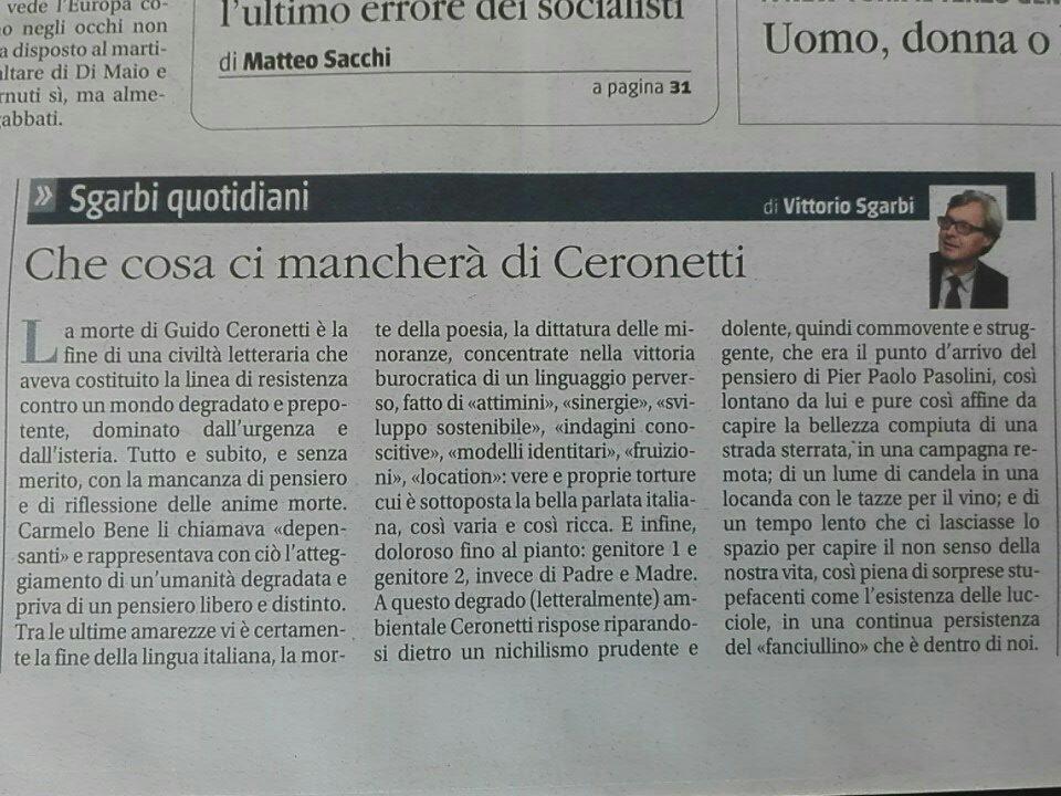 """La bellissima riflessione di @VittorioSgarbi sul perché la scomparsa di Guido #Ceronetti rappresenti """"la fine di una civiltà letteraria che aveva costituito la linea di resistenza contro un mondo degradato, dominato dall\"""