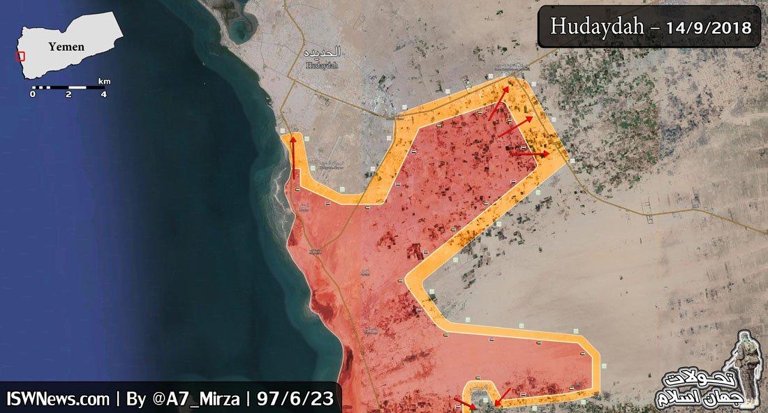 Сводки по Йемену. Ходейда. 14.09.2018. Бои за kilo 16