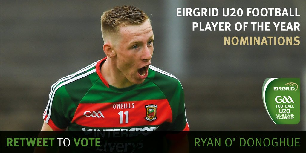 Ryan O'Donoghue was a crucial member of the @MayoGAA U20 side as he produced some great performances over the championship. Is he your @Eirgrid U20 Football Player of the Year? RETWEET to vote yes! #EirGridGAA