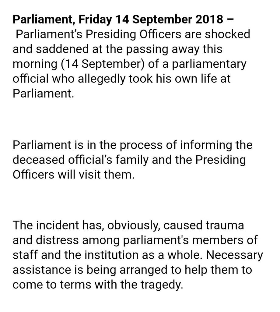 Twitter reacts to staff member who allegedly took his own life in Parliament