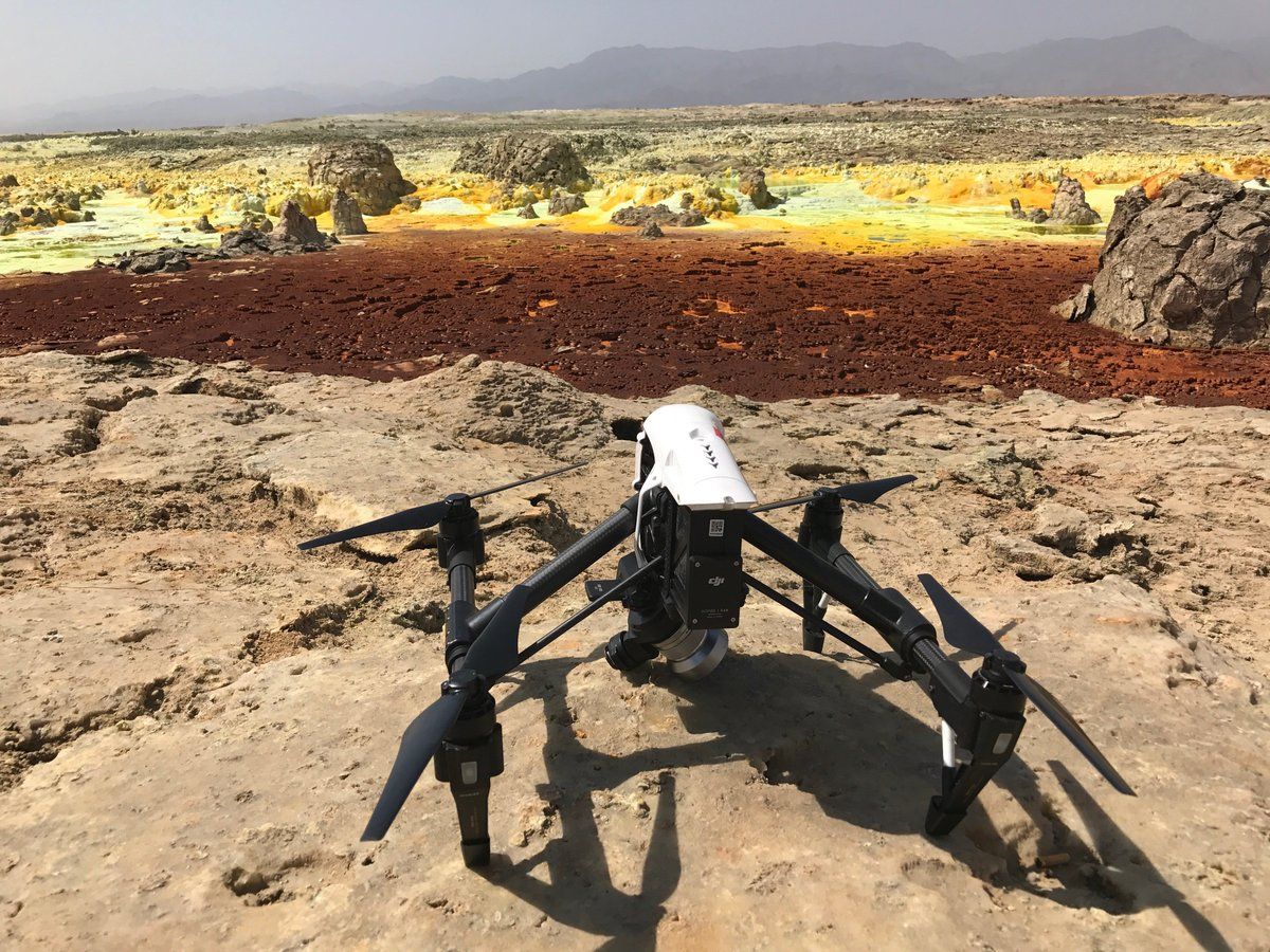 #FlashbackFriday 1 year back to filming the Dallol hydrothermal system in Ethiopia with our DJI Inspire drone. Sadly it didn't survive the trip - corrosive gases rusted its insides and magnetic interference broke its GPS #OneStrangeRock #RIPdrone