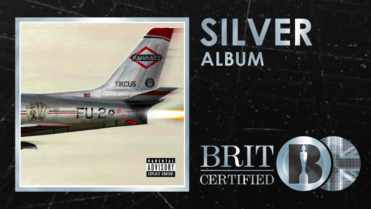 Kamikaze broke an @officialcharts record, making @Eminem the artist with the most consecutive Number 1⃣ albums! His 9⃣th chart topping LP has just been #BRITcertified Silver! 🇬🇧💿