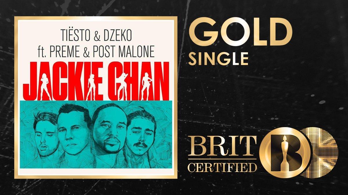 Big congrats to @tiesto, @Dzekomusic, @preme and @PostMalone on their #BRITcertified single Jackie Chan! 🇬🇧📀