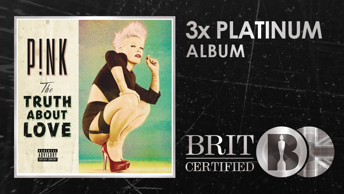 💋@Pinks Truth About Love is packed full of bangers like Just Give Me A Reason, Try and Blow Me (One Last Kiss) so naturally it has just been #BRITcertified a whopping 3x Platinum! 🇬🇧💿