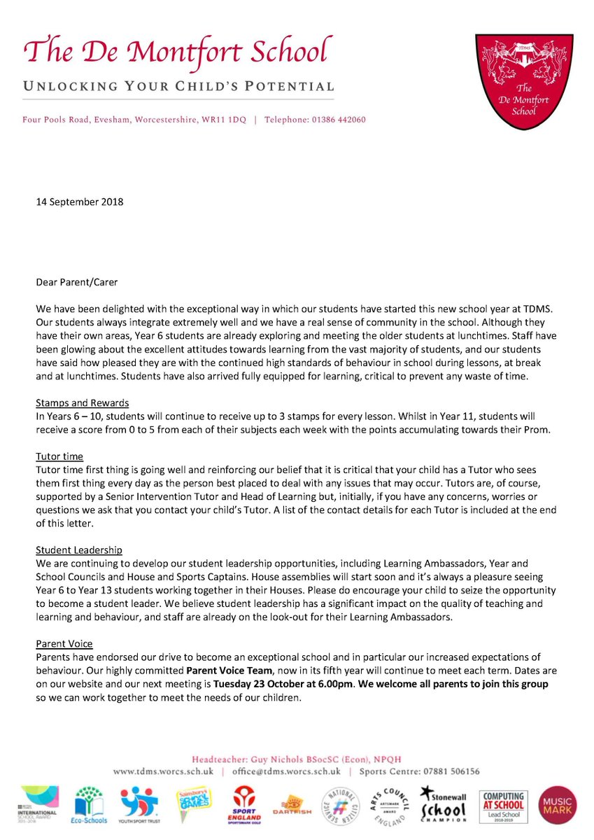 TDMS Evesham On Twitter Letter Home To Parents Tco