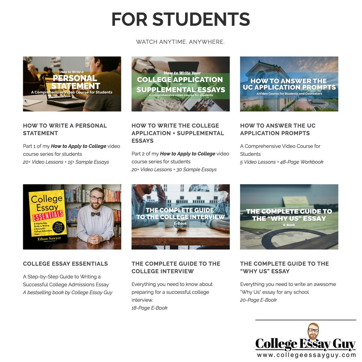 High school seniors, I have every resource available to help you do an amazing job on your college applications—and even enjoy the process: goo.gl/YG7fUZ