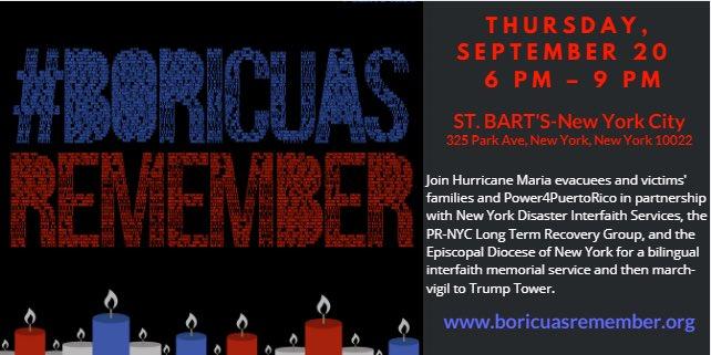 #HurricaneMaria interfaith memorial service: Thursday, 09/20/2018, from 6-9PM, at St.Bart's Church. #PuertoRico #Evacuees #EstamosAqui https://t.co/OTELAMy5ih