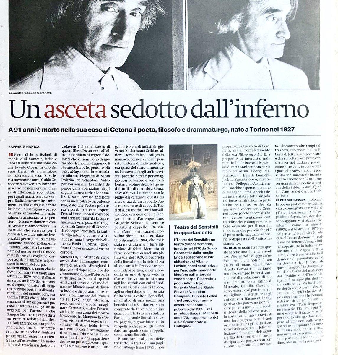 #Ceronetti Raffaele Manica sul Manifesto di oggi.  - Ukustom