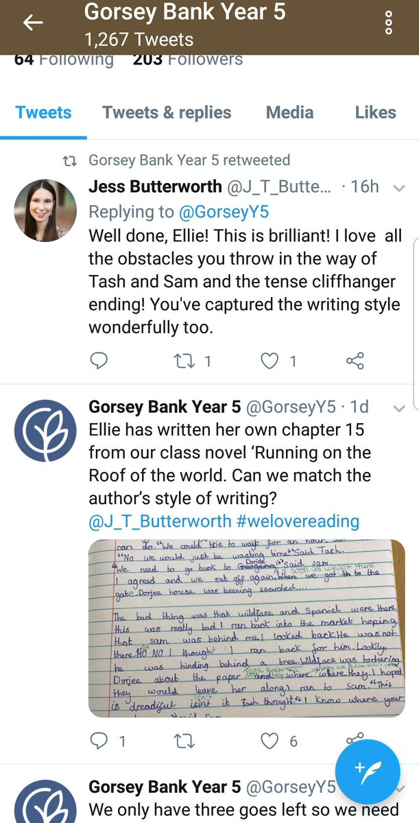 test Twitter Media - Fantastic to see  @GorseyY5 getting some feedback on their writing from none other than @J_T_Butterworth - author of their current text 'Running on the Roof of the World' - so inspiring for them as young writers 👏👏 #gorseybookclub https://t.co/V4UWkELBbw