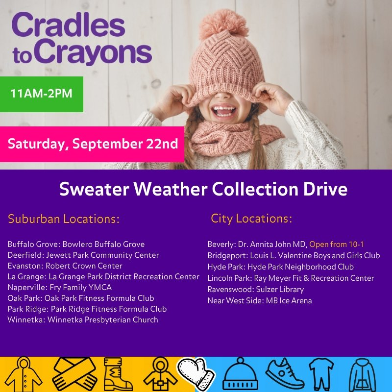 Donate your new/like-new childrens' essential items (clothing, shoes, books, toys, more) at participating Sweater Weather drop-off locations: ...