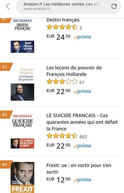 Pas encore sorti (19 septembre) le livre «Frexit» de @f_philippot est d'ores et déjà 4ème des ventes sur Amazon en politique française ! La page spéciale sur notre site : #VendrediLecture Photo