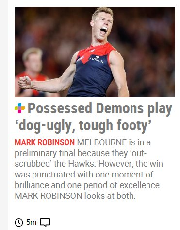 Not having a go at Robbo here, but personally, I reckon Melbourne are as exciting a team to watch as any other I&#39;ve seen in a long time. Sure they&#39;re tough, but there&#39;s plenty of skill and they can kick (by today&#39;s standards) big scores. Am I wrong? #AFLHawksDees <br>http://pic.twitter.com/CuKkiGEKZq