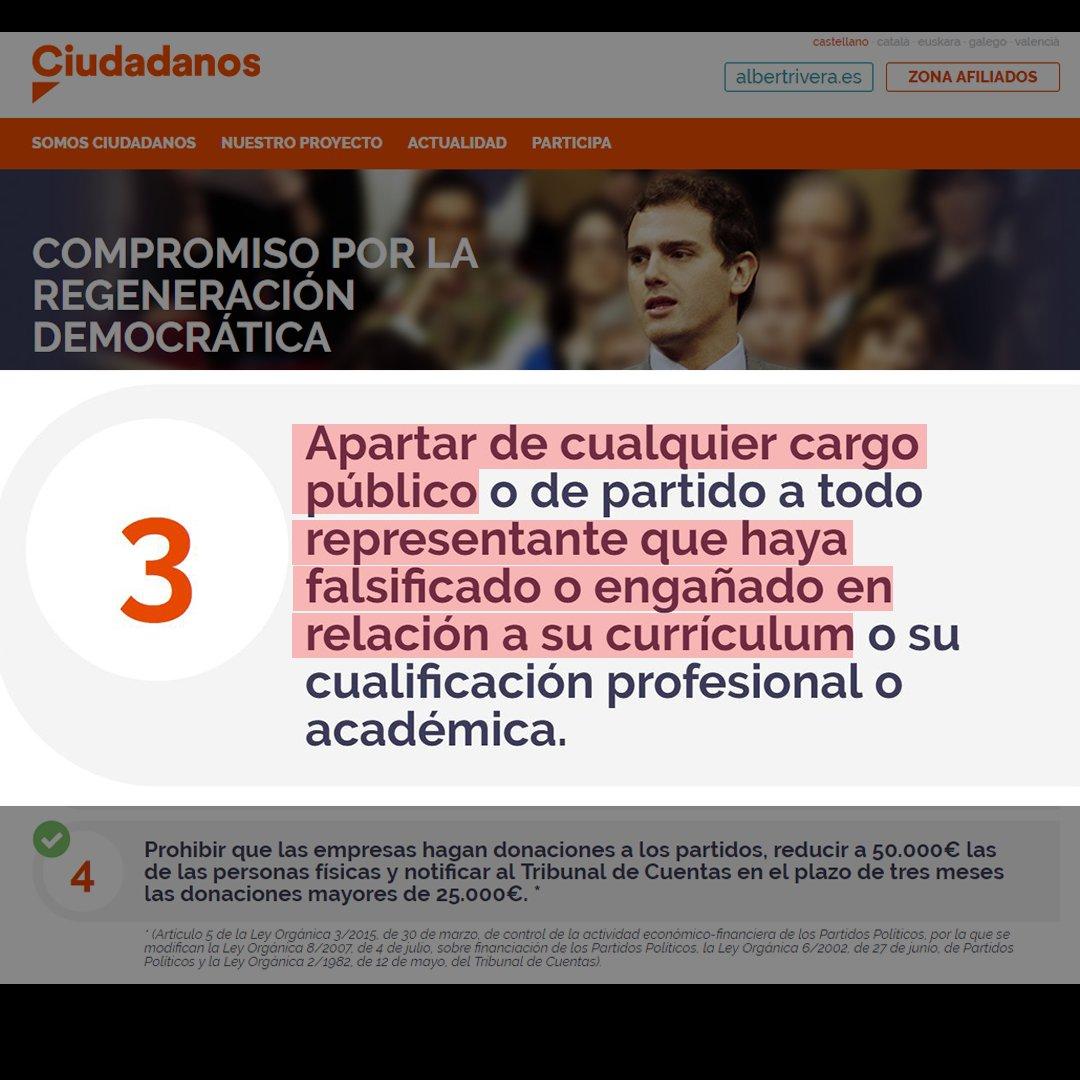 Según el decálogo de Ciudadanos, Albert Rivera debería ser apartado de su cargo público