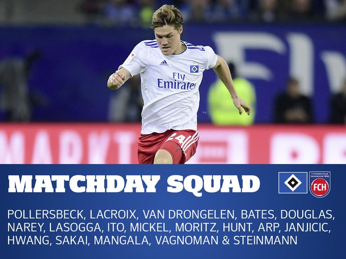 📋 Here is our matchday squad for tomorrow featuring our new signing, Hee-Chan Hwang 🇰🇷 #nurderHSV #HSVFCH 🔵⚪⚫ Foto