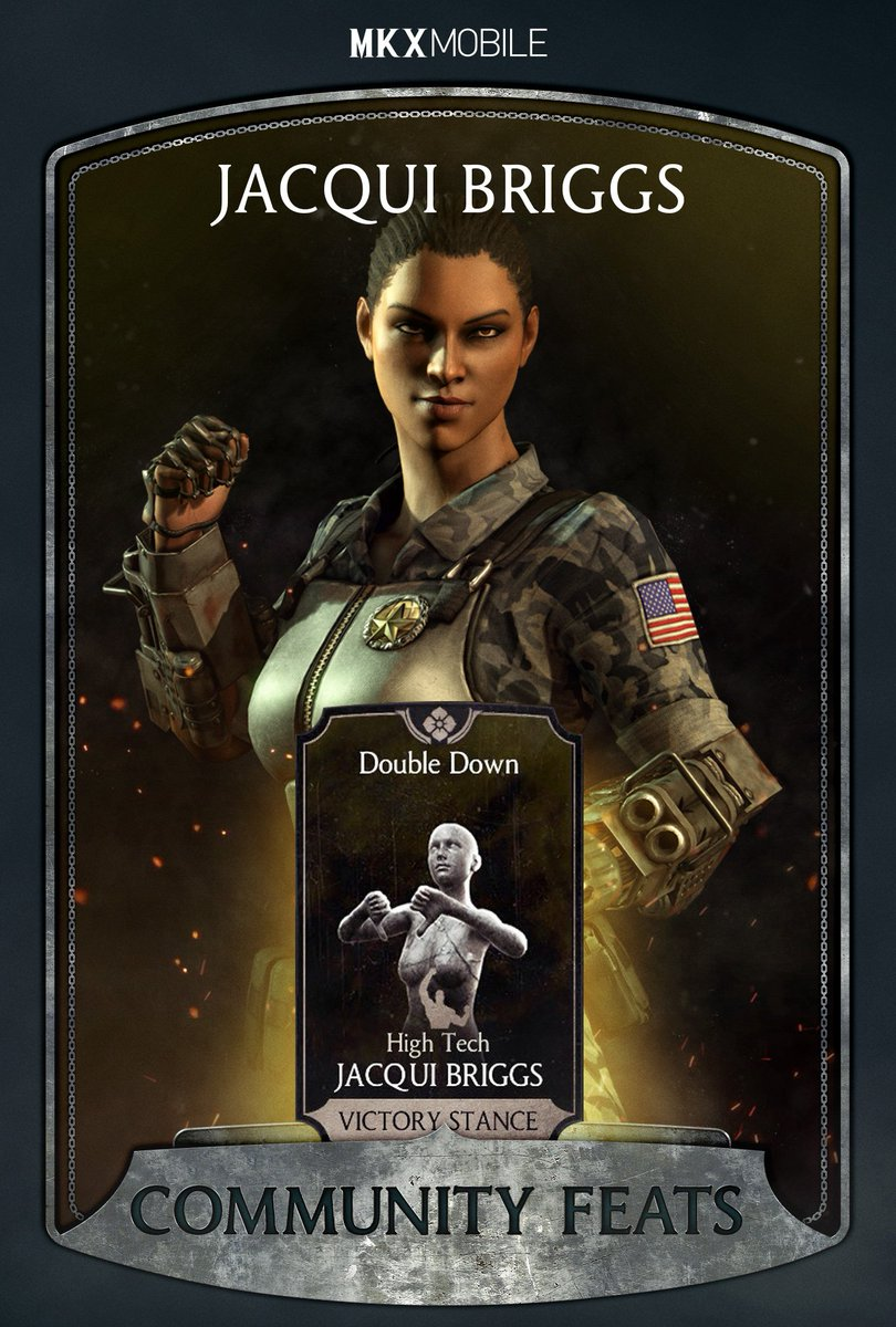 For a chance to win Souls unlock High Tech Jacqui Briggs Double Down Victory Stance! Post a screenshot of the menu with the unlocked feat by September 21st and well randomly select the winners! #Sweepstakes & #MKXMobileCommunityFeats to qualify! Rules: go.wbgames.com/MKXXommunityFe…