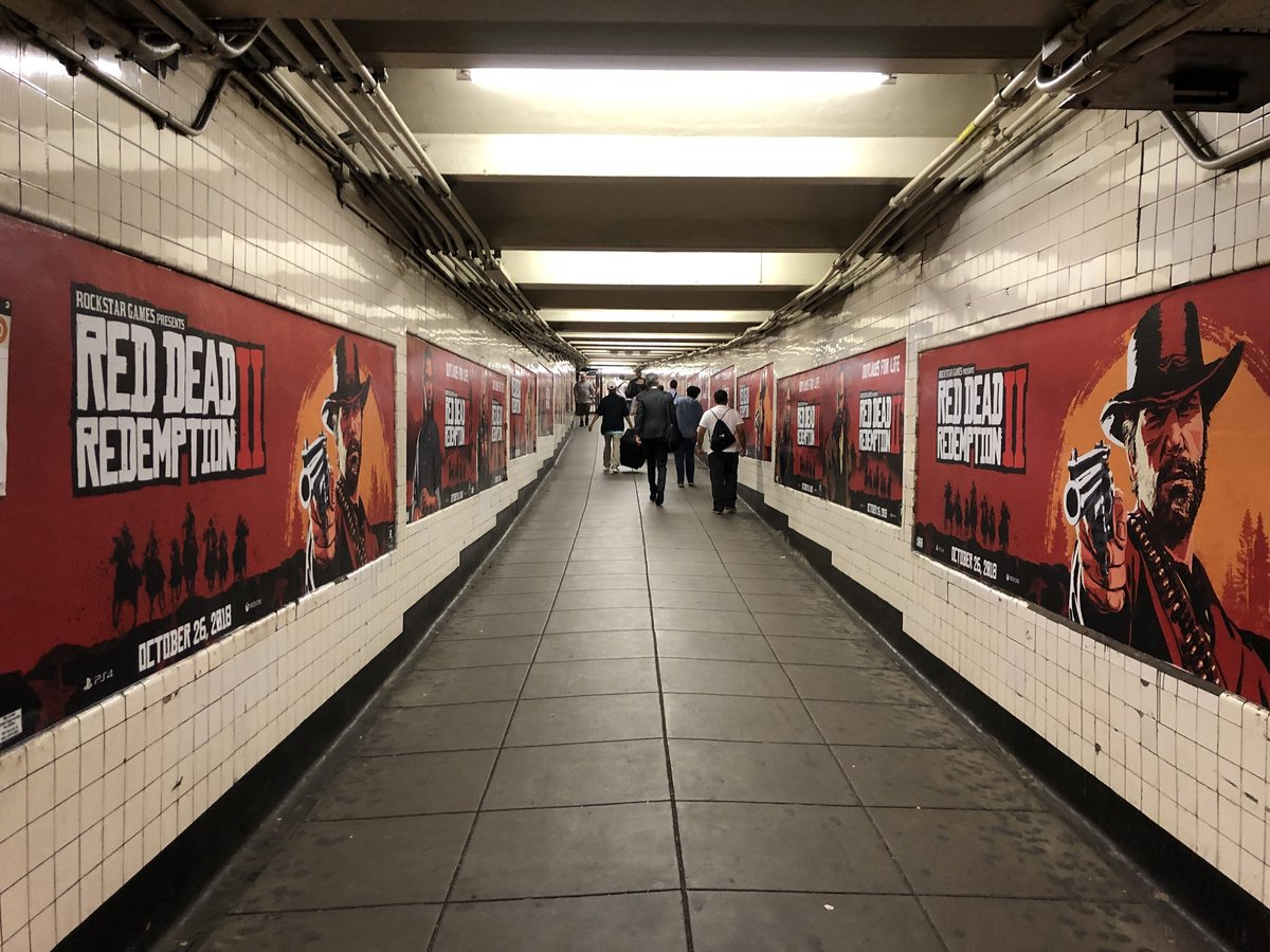 Wall to wall ads at Manhattan's West 4th Street station for the big cowboy game. https://t.co/5ORgMyV0xA