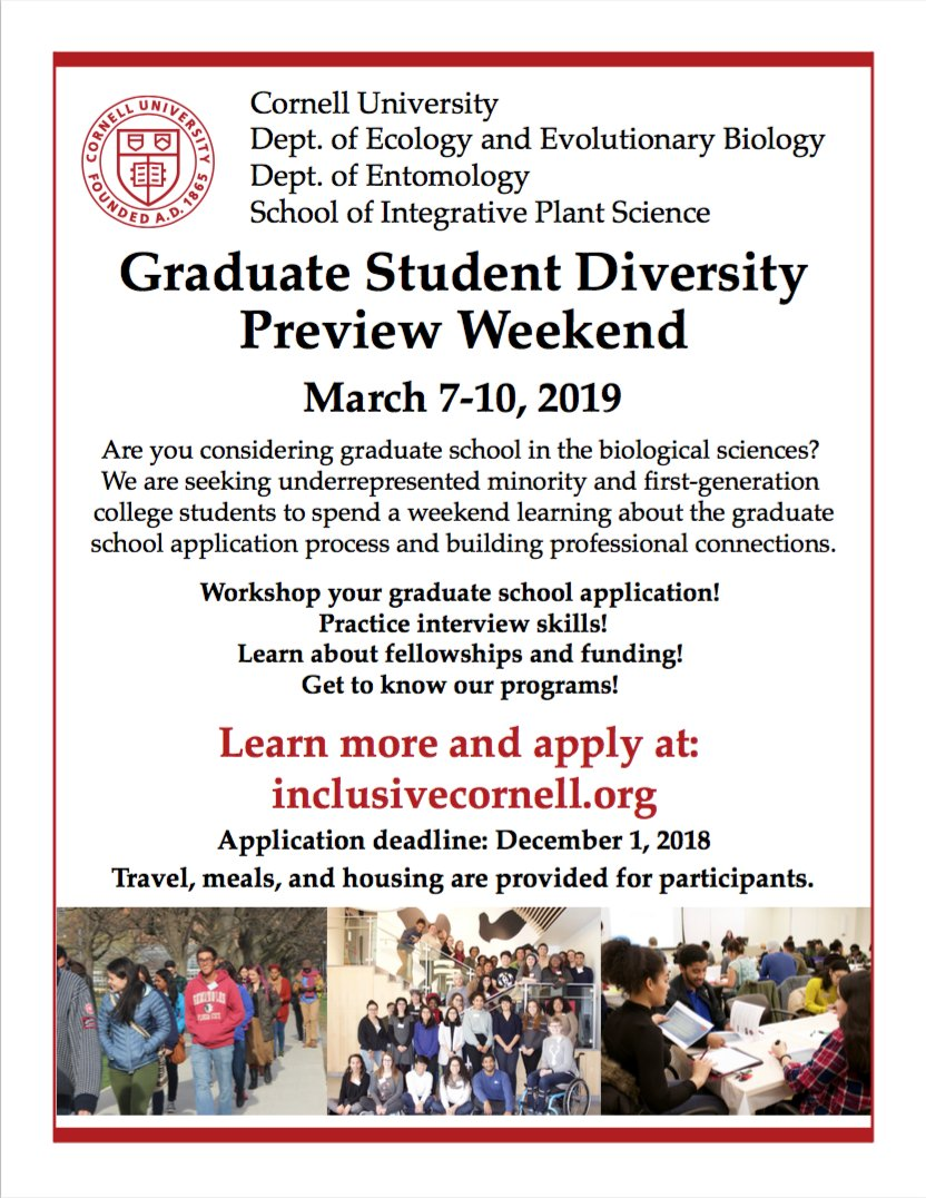 Applications are now open for #DPW2019! If you are a #firstgen or #URM student in ecology, evolutionary biology, entomology, or plant sciences and want to learn about applying to #gradschool, please apply to our program!! Visit inclusivecornell.org to learn more!
