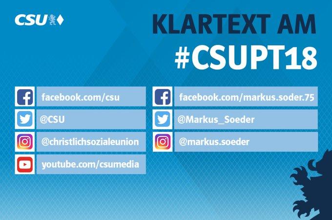 Wer morgen beim #CSUPT18 nichts verpassen will, der sollte unbedingt diesen Accounts folgen. Wir versorgen euch wie immer mit allen Infos. #jazuBayern Foto