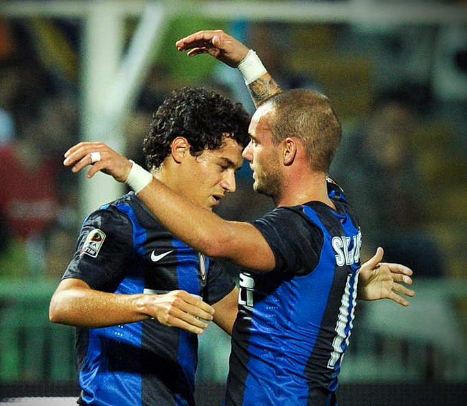 Throw it back to when @Phil_Coutinho and @sneijder101010 played at Inter Milan together ⚫🔵 Photo