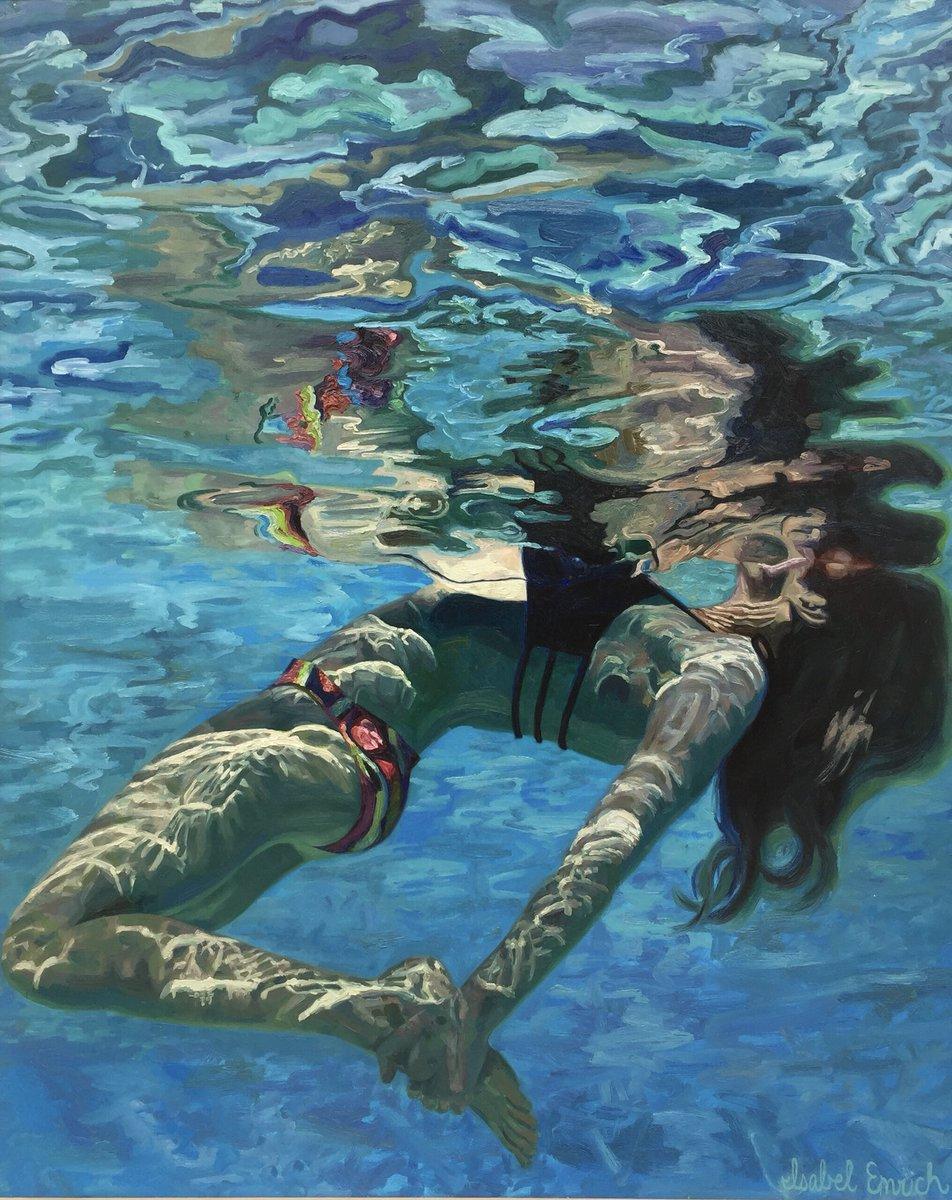 underwater painting of people by houston - 736×913