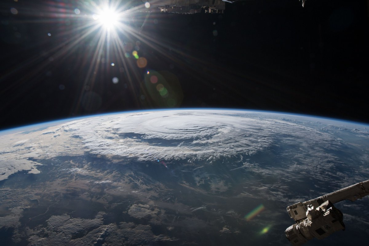 Hurricane Florence is pictured from the International Space Station as a category 1 storm Friday morning as it was making landfall near Wrightsville Beach, North Carolina.