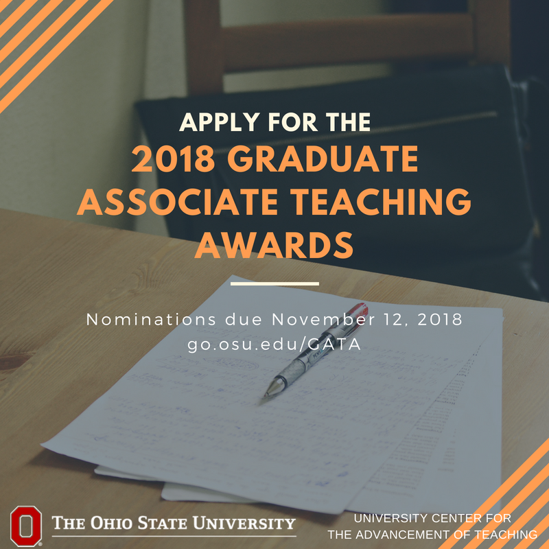 Recognize outstanding graduate teaching @OhioState. Nominate yourself or a fellow OSU GTA for the Graduate Associate Teaching Award. Visit: https://t.co/r4qaldw6bk