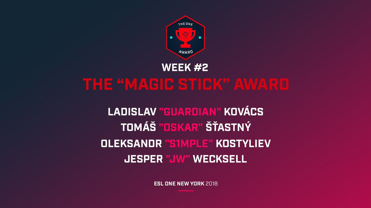 Who has proven himself to be the ultimate AWP lord at #ESLOne New York? YOU decide in this weeks #OneAward! @guardiancsgo @CSGOoskar @s1mpleO @jwCSGO 👇📽️👇 esl.gg/VoteTheOneNY