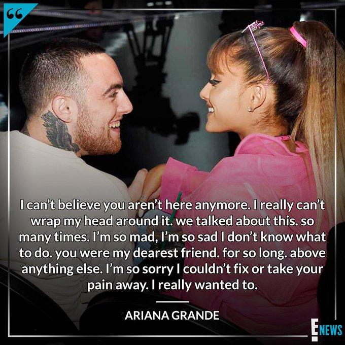 Ariana Grande has broken her silence on Mac Miller's death. Photo