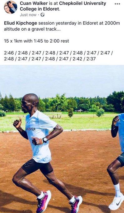 El 28 de agosto Eliud Kipchoge realizó este entrenamiento en su preparación para el maratón de Berlín: ●15 x 1km. ●Pista de grava. ●A 2000 m de altitud. ●Último km➜2:37💨 Tengo el récord del mundo de maratón en mis piernas. #BerlinMarathon Photo