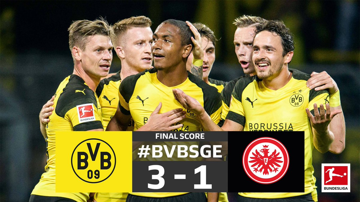 Another home win for Dortmund and they will spend the night top of the #Bundesliga! 🔝🐝 #BVBSGE