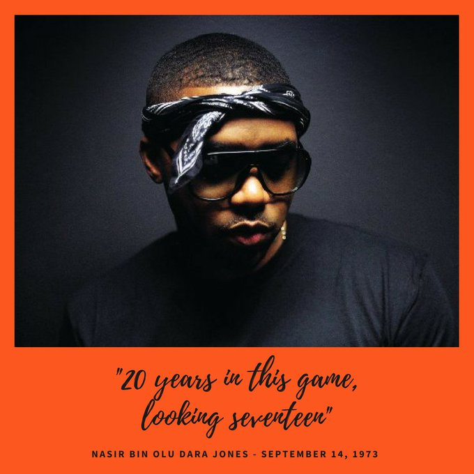 """20 years in this game, looking seventeen,\"" - Happy birthday Nas!"