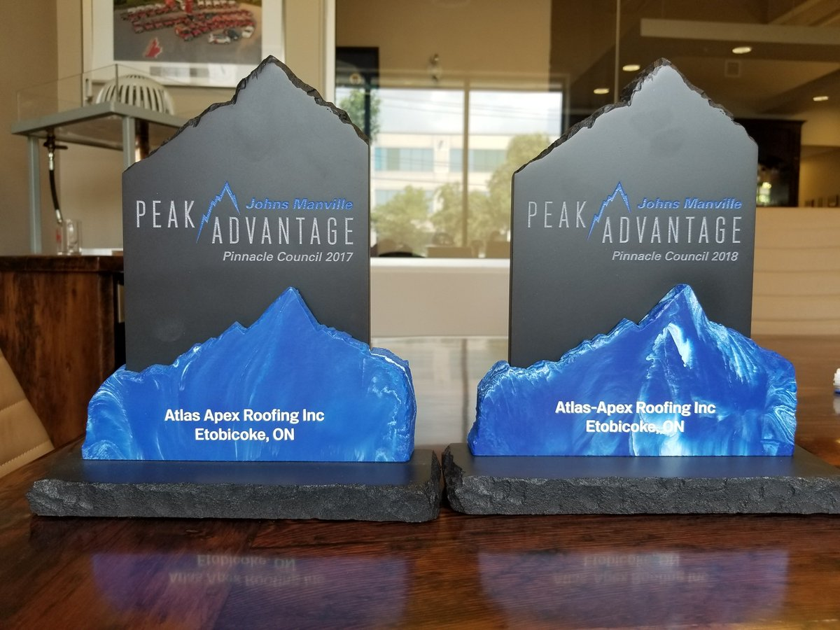 Jm Roofing Systems On Twitter Marc Allaire Is Presenting The 2018 Jm Peakadvantage Pinnaclecouncil Award To Atlas Apex Roofing Inc Atlas Apex Was The Only Repeat Pinnacle Contractor In Canada In 2018 Congratulations Team