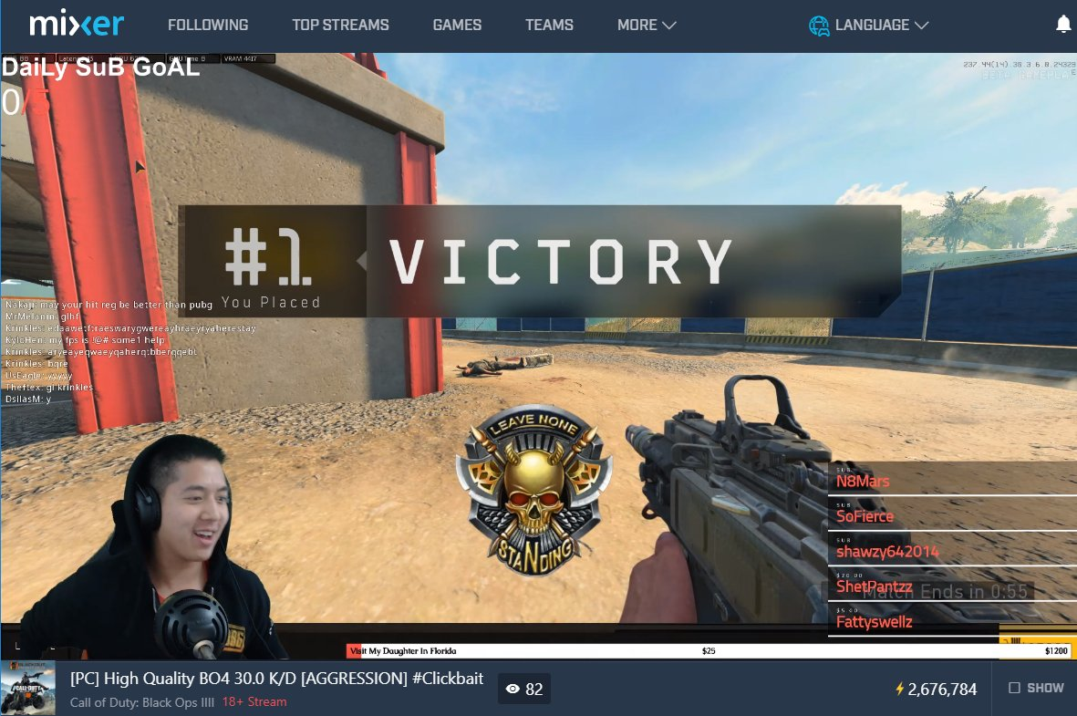 @TaingySauce is one fun dude to watch when playing BRs!  GG on the #PC #MixerSolos @CallofDuty #Blackout VICTORY! #OhBuaby