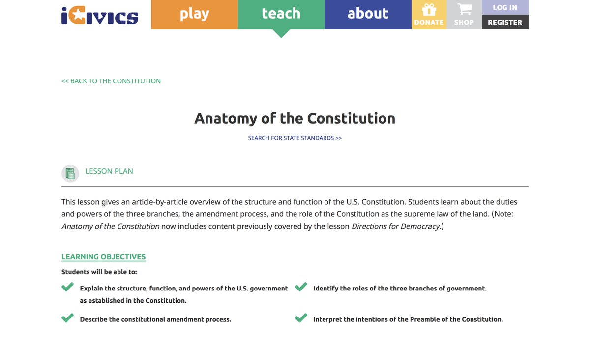 Use Our Anatomy Of The Consution Lesson To Break It Down Https Www Icivics Org Teachers Plans From Sm