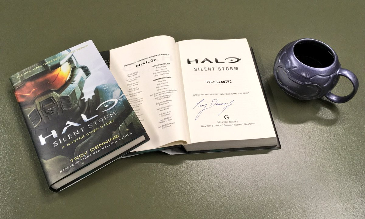Fall is in the air here in Seattle.   Why not grab a cup of coffee and curl up with a copy of Halo: Silent Storm? We've got 3 copies signed by @TDenningauthor and codes for audio book codes care of @GalleryBooks . Follow & RT for a chance to win.