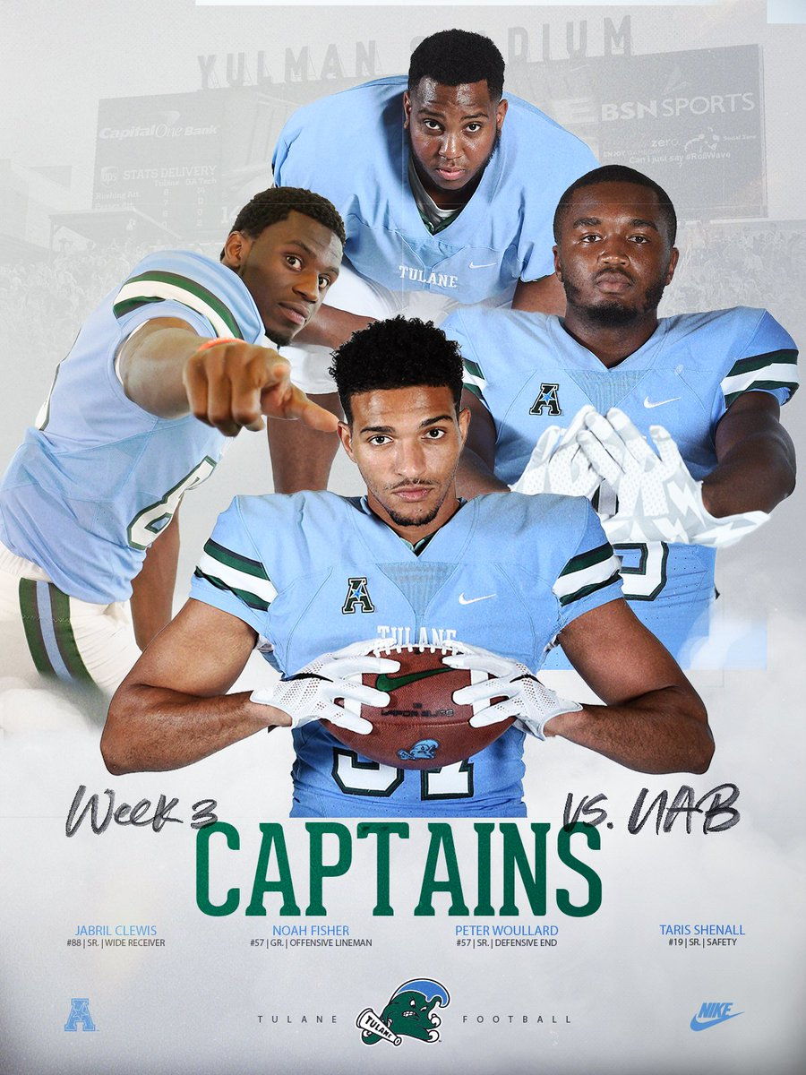 Captains for todays game vs. @UAB_FB: 🌊: @JabrilClewis 🌊: @BigFish_57_opm 🌊: @TheRealTaris 🌊: Peter Woullard #RollWave #BeatUAB