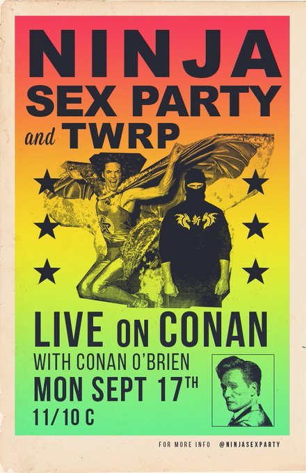 Our boys @ninjasexparty are gonna be playing on Conan on Monday!! TUNE IN FOR SOME JAMS Photo