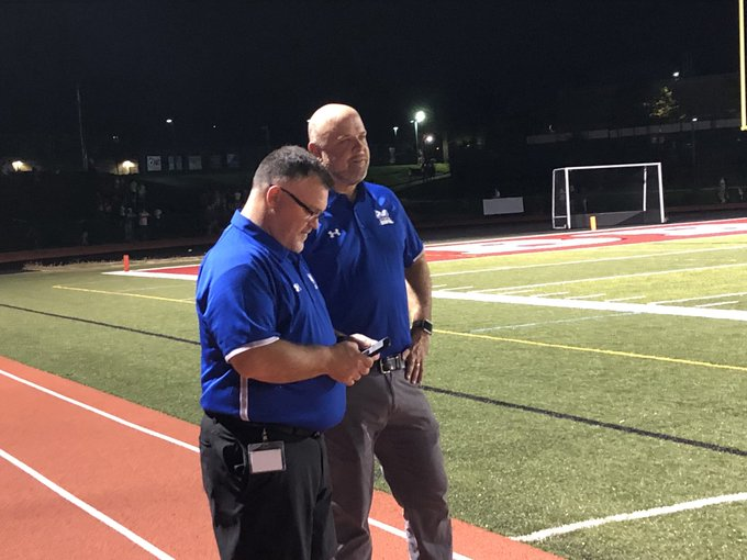 Shout out to the MHS Admin team covering the game tonight. Just another 16 hour day in the life of the Madeira High School Principal and Athletic Director. Thanks Dave and Joe! @MadeiraHSPrin @madeiraath #MadeiraStrong Photo