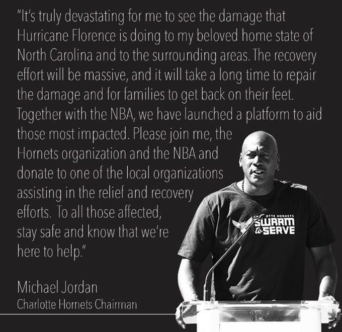 More sportsman activism: Michael Jordan is working with the Charlotte Hornets & the NBA for hurricane Florence relief #HurricanFlorence #FlorenceHurricane2018 Photo