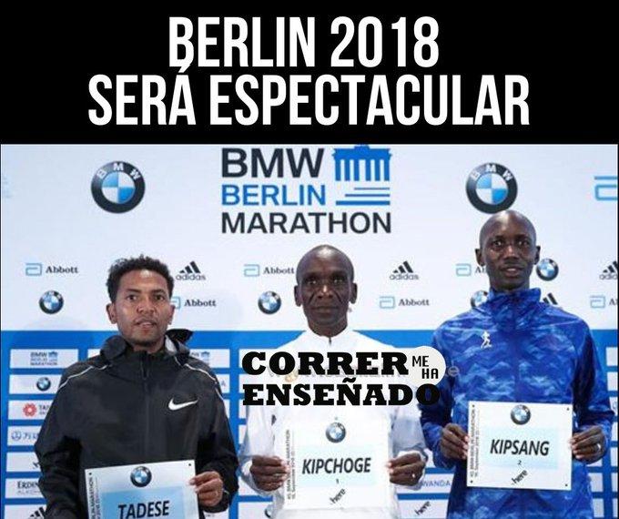 #BerlinMarathon Será espectacular. Gran batalla entre: 🇰🇪 @EliudKipchoge 2h03:05 🇰🇪 @Kipsang_2_03_23 2h03:23 🇪🇷 Tadese 2h10:41 nunca hidratado/2 hidratado en Monza Kipsang es el único atleta que le ha ganado a Kipchoge en maratón. ¿Quién ganará? #CorrerMeHaEnseñado Photo
