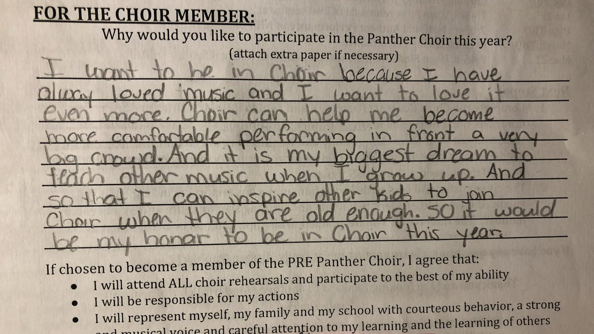 So excited to start a new year of PRE Choir. These are just a few of responses that are inspiring me to be my best for these amazing musicians! #pre1819 #PREChoir #MyPeople #LetsSingAllDayLong