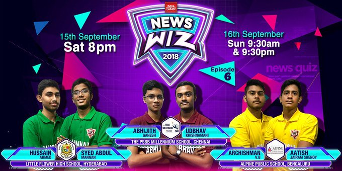 Distinct southern flavour to #NewsWiz this weekend as top schools from Chennai, Bengaluru and Hyderabad take each other on. @VVSLaxman281 old school in the race too, a quiz that goes to the wire! @babubasu Photo