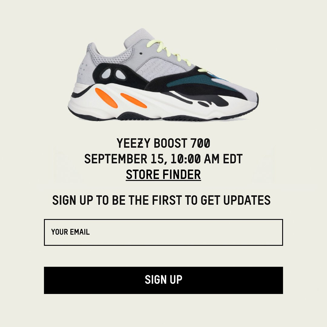 9bb80feac7aa7 10am ET   7am PT on  adidas US. adidas Yeezy Boost 700. —   https   bit.ly 2v1Z1Io pic.twitter.com 4kzihvXR4M